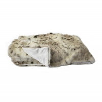 White spotted faux fur throw 50x60''