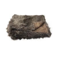 Brown faux fur throw 50x60''