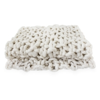 Beige knit throw, 51 x 67''