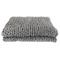 Pale grey knit throw, 51 x 67''