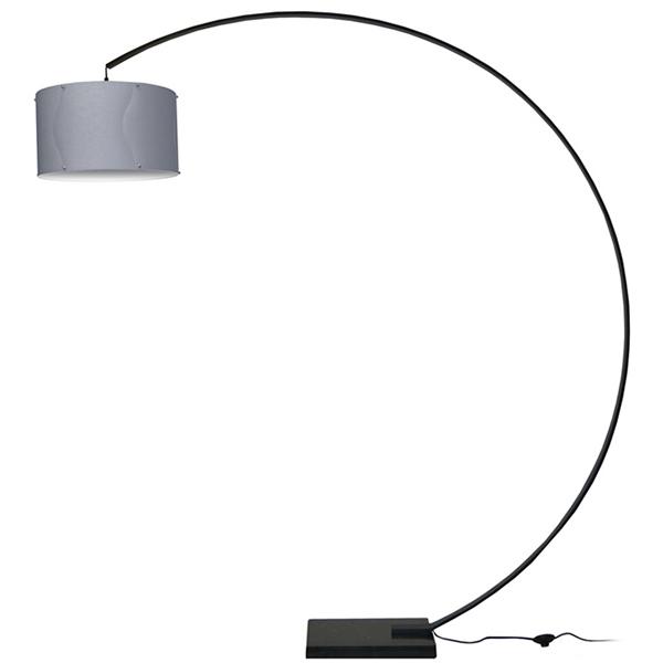lampe sur pied en aluminium noir avec abat jour argent 74 x d cors v ronneau. Black Bedroom Furniture Sets. Home Design Ideas