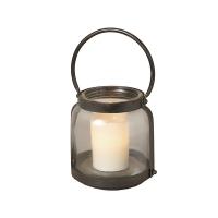 Lanterne antique en métal et verre 12,25''