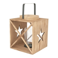 Wood Lantern with Star, 10 X 8.5 X 8.5''