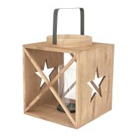 Lanterne en bois avec étoile, 10 X 8.5 X 8.5''