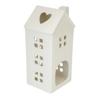 Lanterne maison blanche, 15 X 5 X 5''