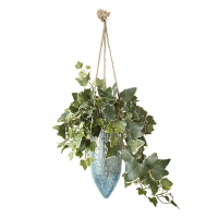Blue wall planter with ivy 15 x 17''