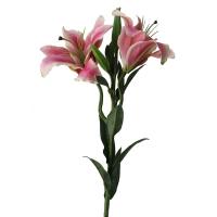 Fleur artificielle Lys tigré crème et rose 24