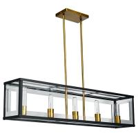 Luminaire horizontal suspendu, fini noir mat et bronze
