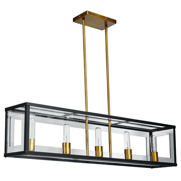 Luminaire horizontal suspendu fini noir mat et bronze for Luminaire suspendu noir