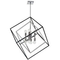 Luminaire suspendu géométrique, fini noir mat et chrome