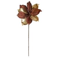 Choco and gold metallic and velvet magnolia stem, 24''