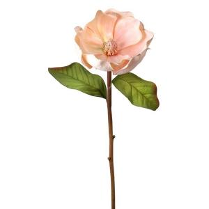 Pale pink glittered edge brushed magnolia stem, 27''