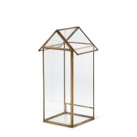 Glass house, with gold metal 12''