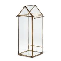 Maison en verre et métal doré 15''