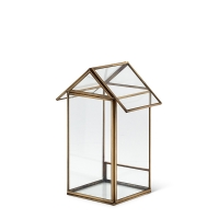 Glass house, with gold metal 9''