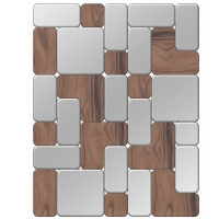 Square mirror with multiple wood insertions 32,5x27,5''