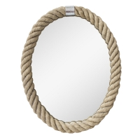 Oval mirror with rope, 18 x 1.5 x 24''