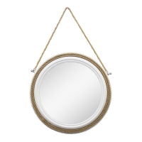 Round mirror hanging by a rope, 22 x 22 x 2''