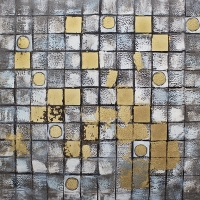 White and gold mosaic hand-painting 36 x 36''