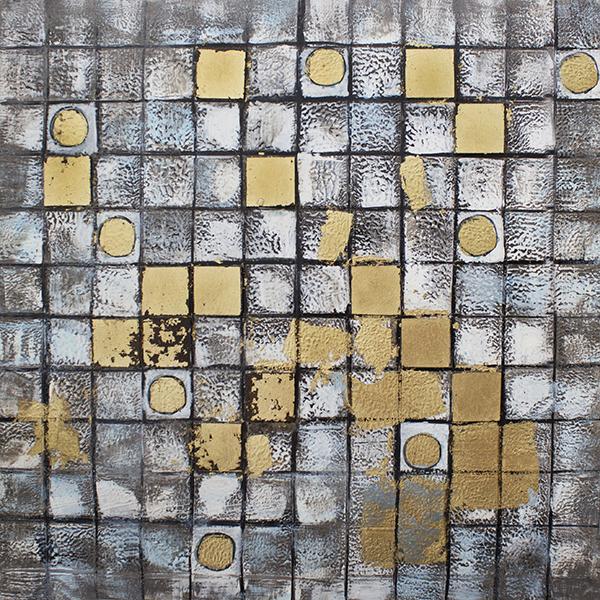 Tableau mosa que blanche et dor e 36 x 36 39 39 d cors v ronneau - Mosaique doree ...