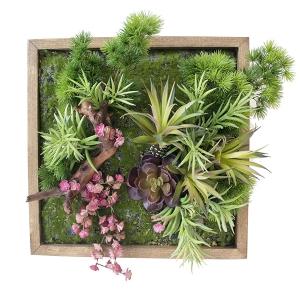 Mur végétal vert et rose, 15 x 15''