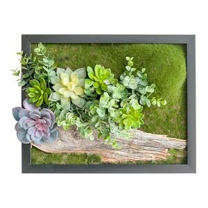 Mur végétal bois et verdure
