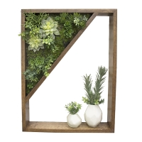 Framed green wall and vases 19 x 24''