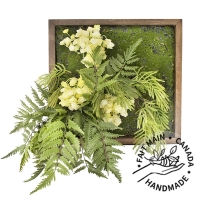 Artificial green wall with fern, 15 x 15''