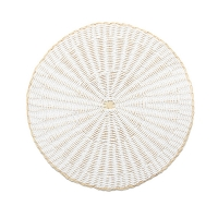 Round woven rattan placemat, white