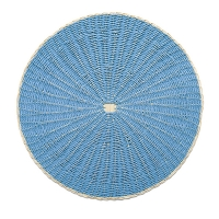 Round woven rattan placemat, blue