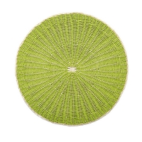 Round woven rattan placemat, green