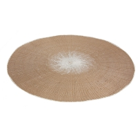 15'' Taupe and ivory round placemat