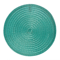 Turquoise round woven placemat, 15''