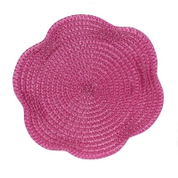 Pink round woven placemat, 15''
