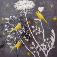 Oiseaux sur fleurs, fini lustré 24 x 24''