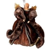 Ornement ange en fourrure choco avec foulard 12''