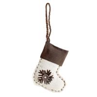 Linen snowflack stocking ornament 6''