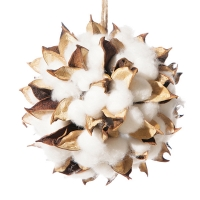 Ornement boule de coton naturel 4,5''