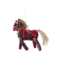 Ornement cheval rouge et vert 4 x 6''