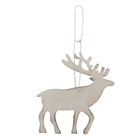 Wood Deer Ornament, 8''