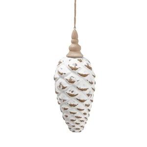 White pinecone finial ornament, 9,5''