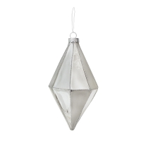 5,5'' silver and white geometric glass ornament, unit price