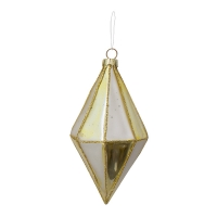 white and gold geometric glass ornament, 5,5'', unit price
