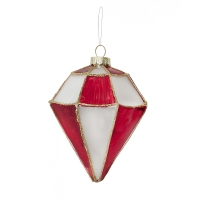 red and white geometric glass ornament, 5,5'', unit price