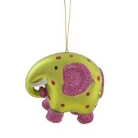 3'' Glittered plastic elephant ornament
