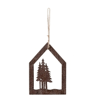Grey Wood Ornament, 6''