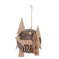 Grey Wood Ornament, 8''