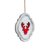 Ornement en bois renne rouge 7,5''