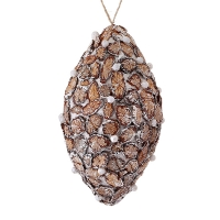 Wood chip with pearls ornament, 6.5''