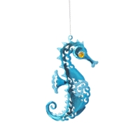 4,75'' Glittered metal seahorse ornament